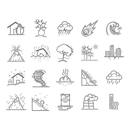 set of natural disaster icons Illustration
