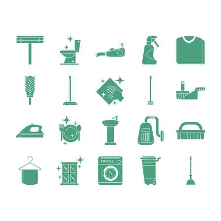 Verzameling schoonmaakpictogrammen