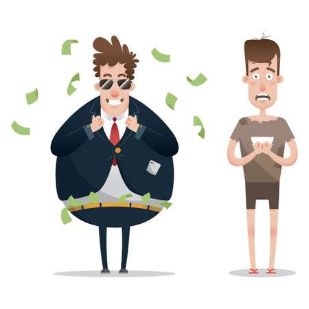 concetto di uomo ricco e povero Vettoriali