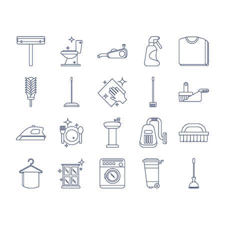 Verzameling schoonmaakpictogrammen Stockfoto - 79214400