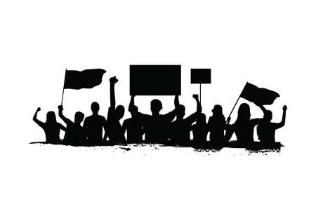 抗議している群衆  イラスト・ベクター素材