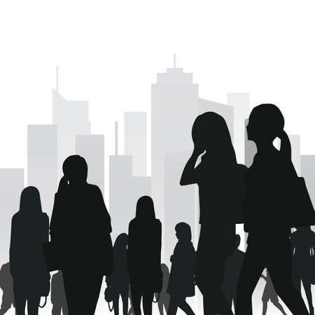 crowd in the city Ilustração