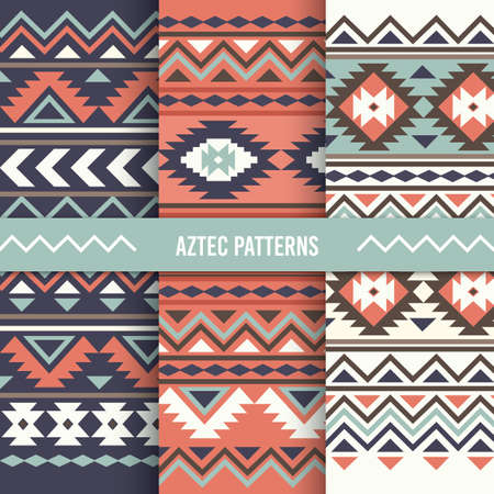 aztec background design set