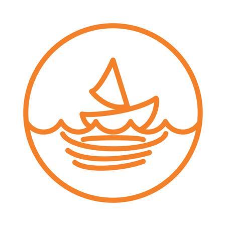 海で強い波  イラスト・ベクター素材