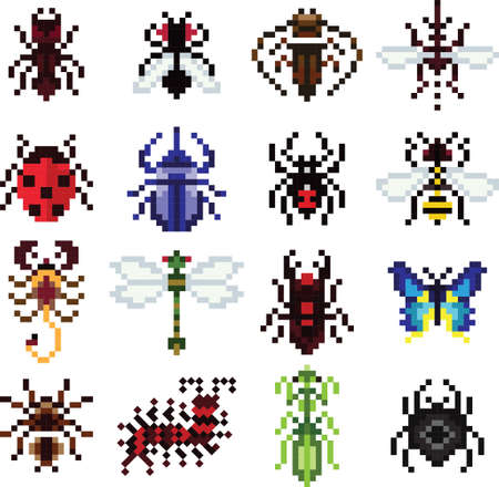 collection of pixel insects and animals