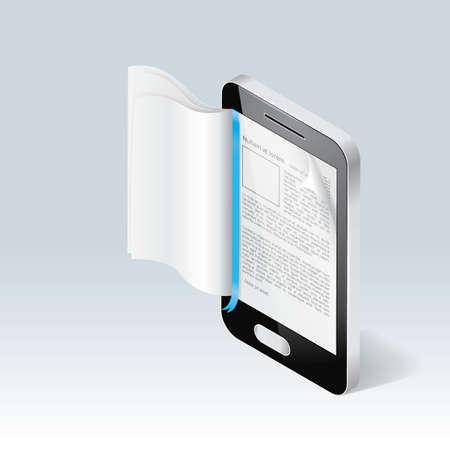 ebook reader concept Illustration
