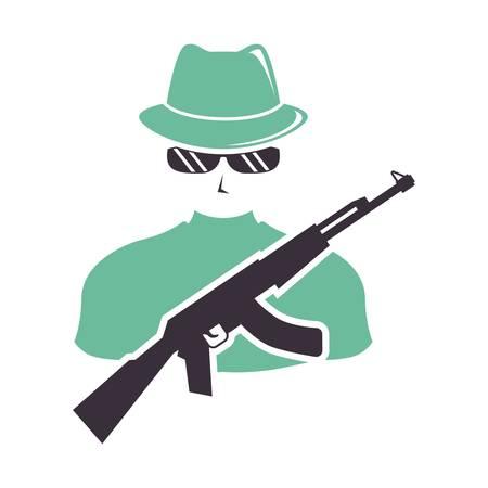 assassin with gun