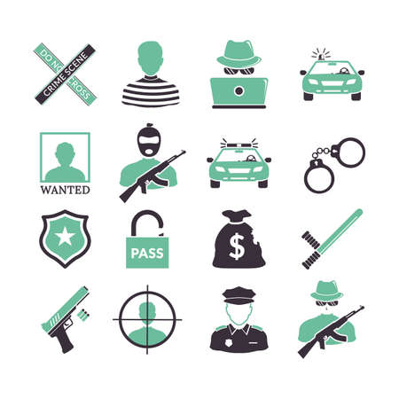collection of police and criminal icons