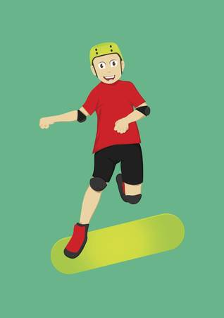 boy on skateboard Ilustracja