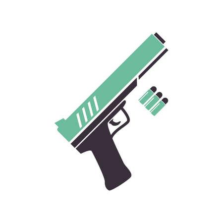 총알이있는 권총 일러스트