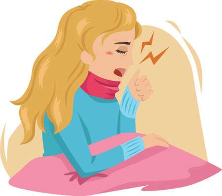 woman coughing Ilustração