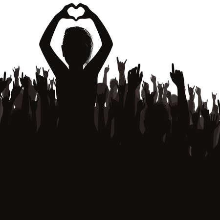 コンサートで観客  イラスト・ベクター素材