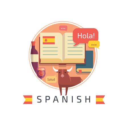ability to speak: spanish concept design Illustration