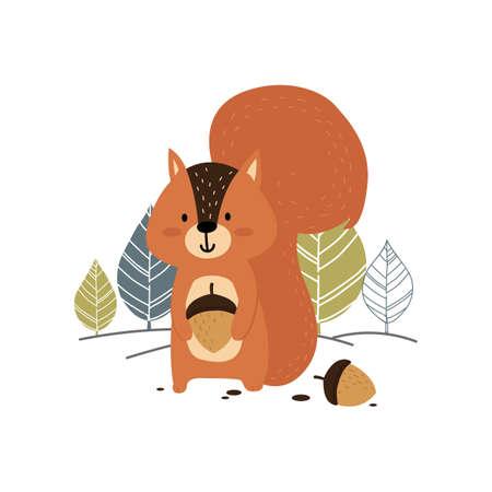 eekhoorn die een eikel houdt Stock Illustratie