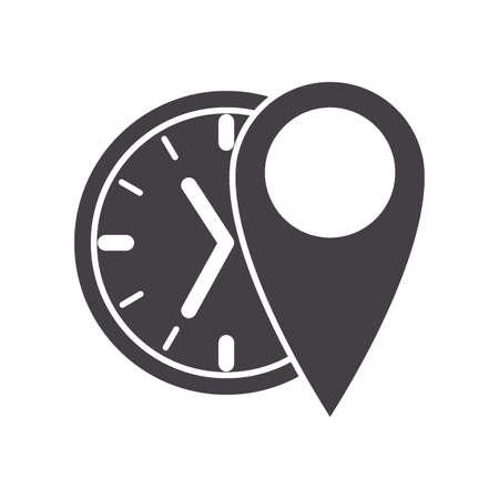 clock with location indicator Illustration