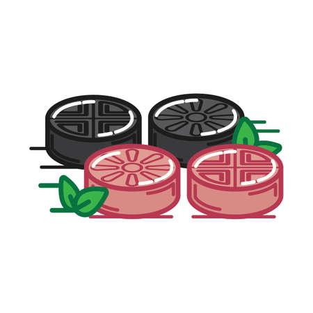 チョルピョン (餅)  イラスト・ベクター素材