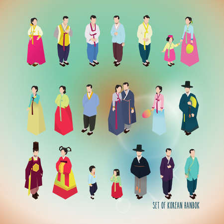set of korean hanbok icons Ilustração