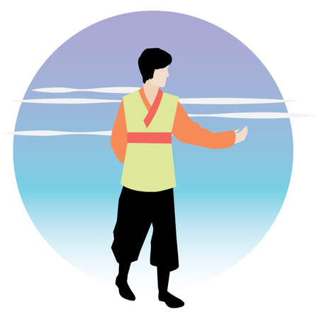 韓国の伝統的な服装の男