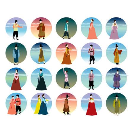 set of korean hanbok icons Illustration