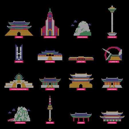 set of south korea landmarks icons