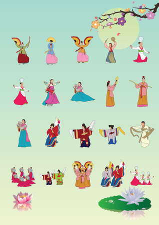 set of south korea traditional performances icons Illustration