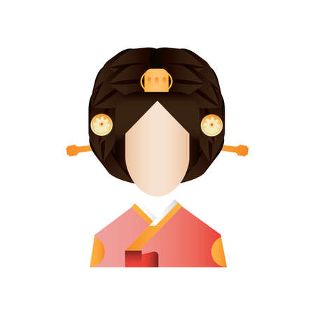 woman in traditional korean clothing Illustration