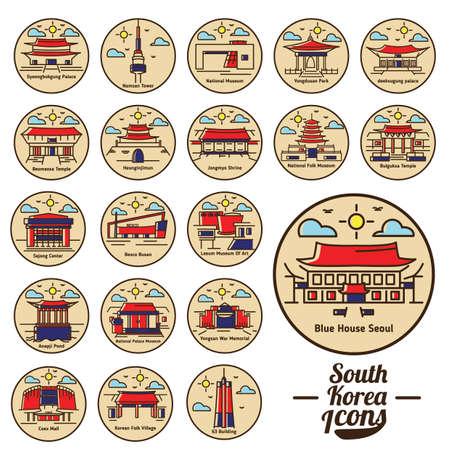Sammlung von Südkorea-Ikonen Vektorgrafik