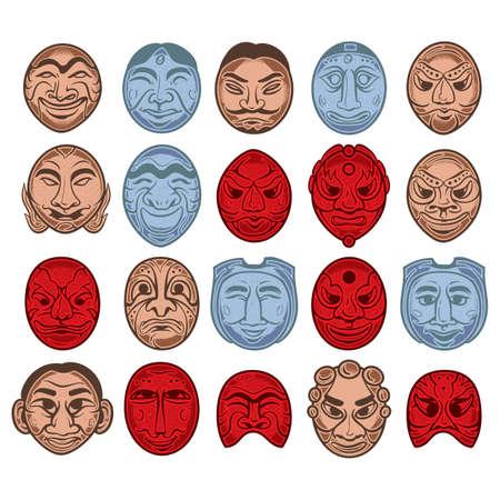 한국 전통 마스크 아이콘 세트 일러스트