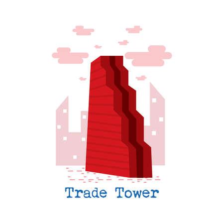 貿易タワー  イラスト・ベクター素材
