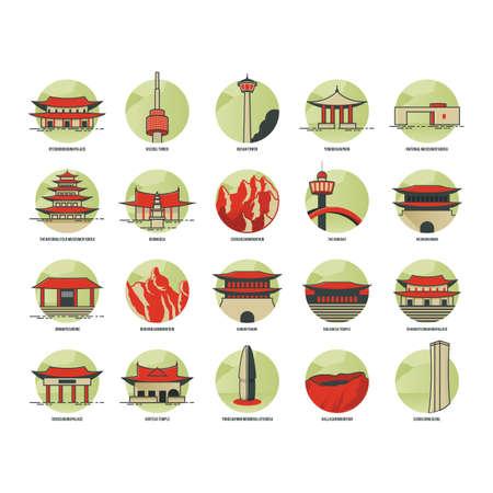 set of south korea landmark icons