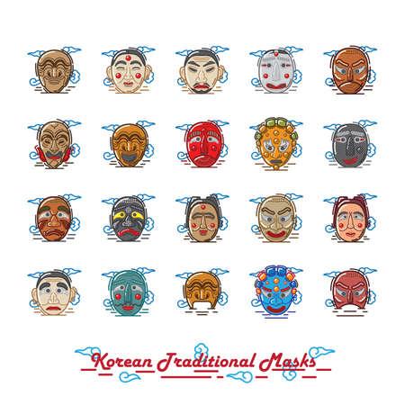 set of korean traditional mask icons
