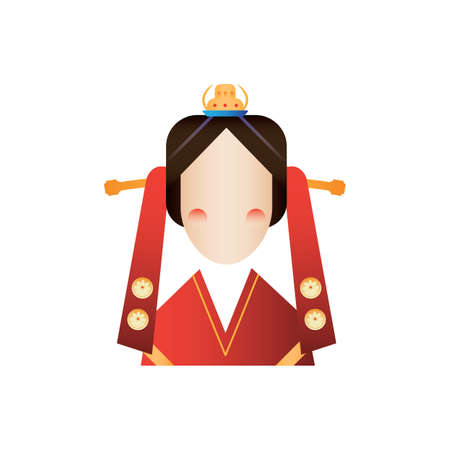 traditional korean queen clothing Illustration