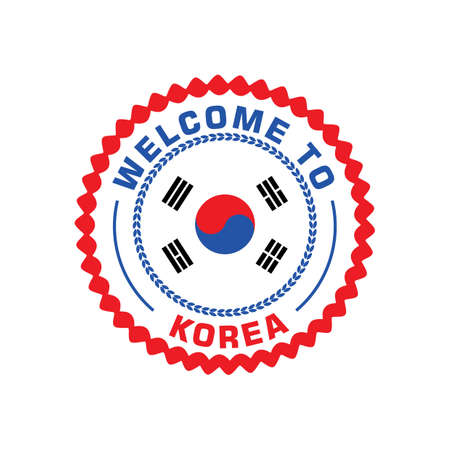 greet: welcome to korea label Illustration