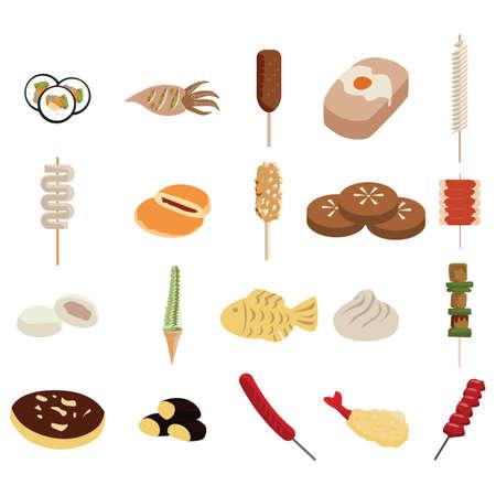 fried shrimp: collection of korean street snacks Illustration
