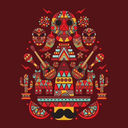 collection of mexican icons concept design Illustration