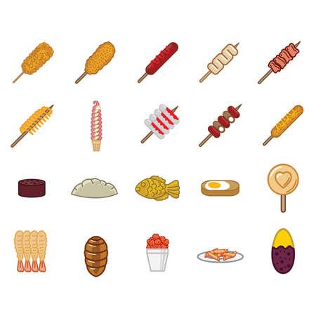 set of korean food icons