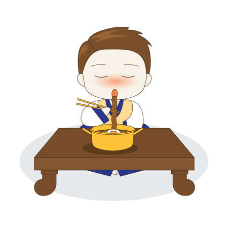 korean boy eating ramyeon 版權商用圖片 - 79155742