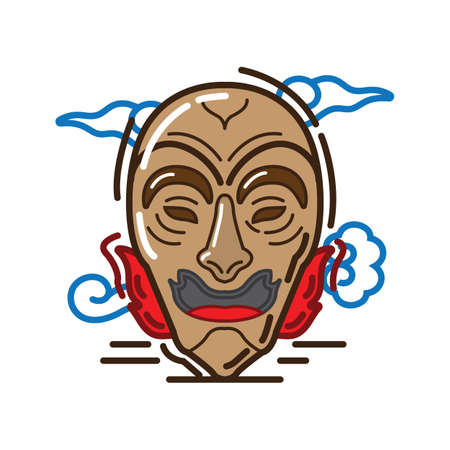 korean traditional mask design Stock Illustratie