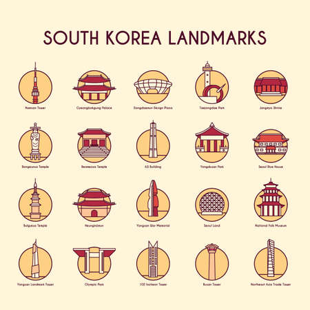 set of south korea landmarks icons