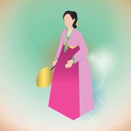 韓国の伝統的な衣装の女性