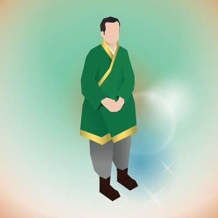 man in traditionele Koreaanse kleding Stock Illustratie