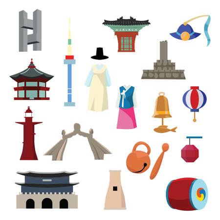 set of korean themed icons
