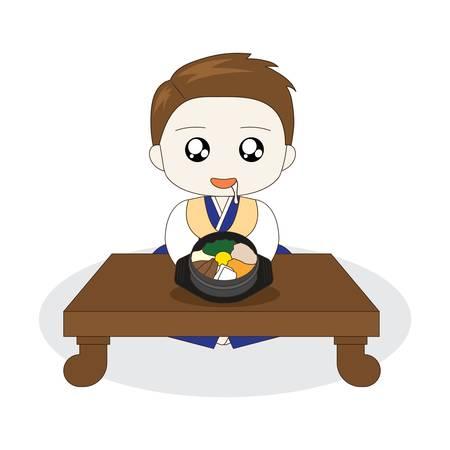 비빔밥 위에 침을 흘리는 한국 소년