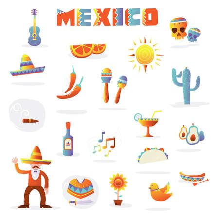 set of mexican icons Иллюстрация