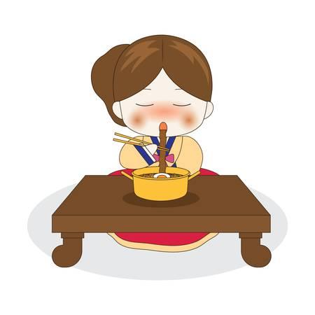 korean girl eating ramyeon Illustration