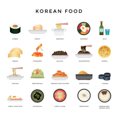 collection of korean food icons
