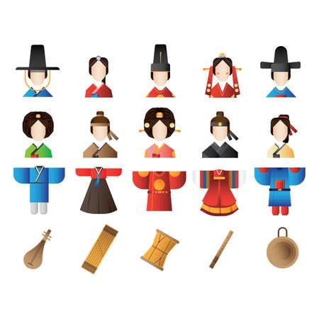 collection de vêtements coréens et icônes d'instruments de musique