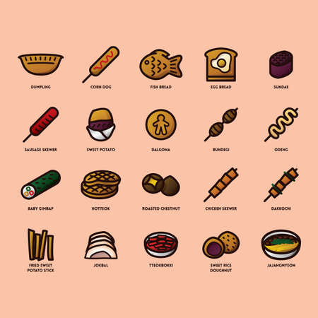 set of korean food icons