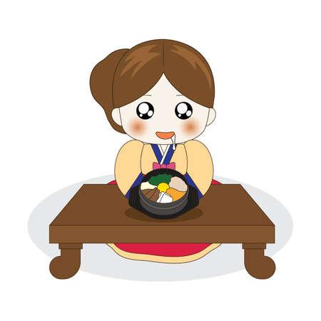 비빔밥 위에 침을 흘리는 한국 소녀 일러스트