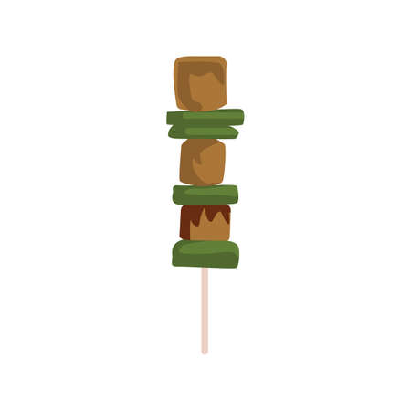 meat and vegetable on a stick Illustration